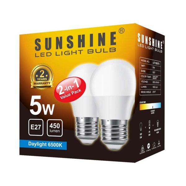 LED 燈膽 E27 大螺頭 5W 白光/黃光 [2件優惠裝]